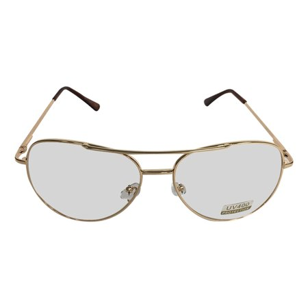 MyPartyShirt - Gold Frames With Clear Lens Aviator Glasses Napoleon ...