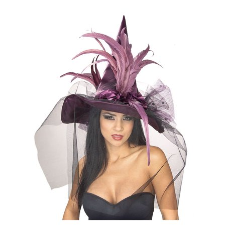 Purple Feather Witch Hat Adult Halloween Costume Accessory ()