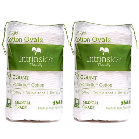 "Intrinsics Naturally 100% Naturelle Large Cotton Ovals 3"" (50 Count) (Pack Of 2)"