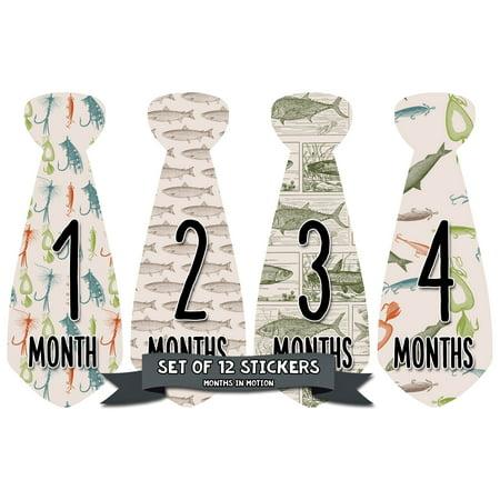 Months in Motion 768 Monthly Baby Stickers Necktie Tie Baby Boy Months 1-12 Fish Fishing