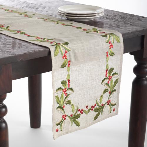 Embroidered Holly Design Holiday Table Linens Natural Tablecloth-65 in x 120 in