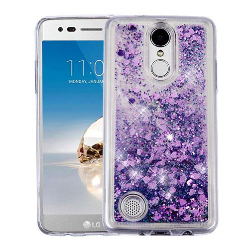 For LG Aristo LV3 / LG Rebel 2 / LG Risio 2 / LG Fortune / LG Phoenix 3 / LG K4 2017 / LG K8 2017 Case Hybrid Quicksand Liquid Glitter TPU Phone Cover (Hearts & Purple Quicksand Glitter)