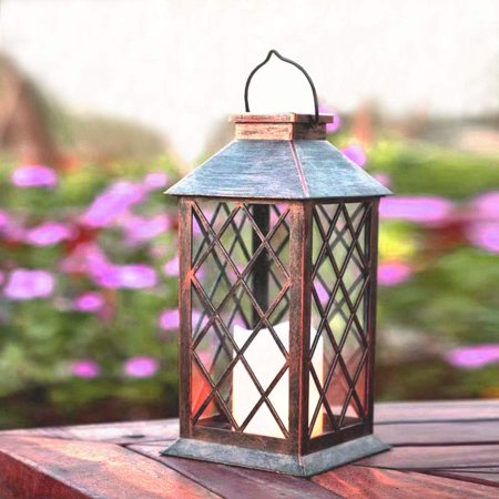 Image of Solar Lantern Indoor or Outdoor Bronze Antique Metal Construction Solar Powered Hanging Lantern or Tabletop with LED Flickering Candle 5.7 x 5.7 x 11 inches