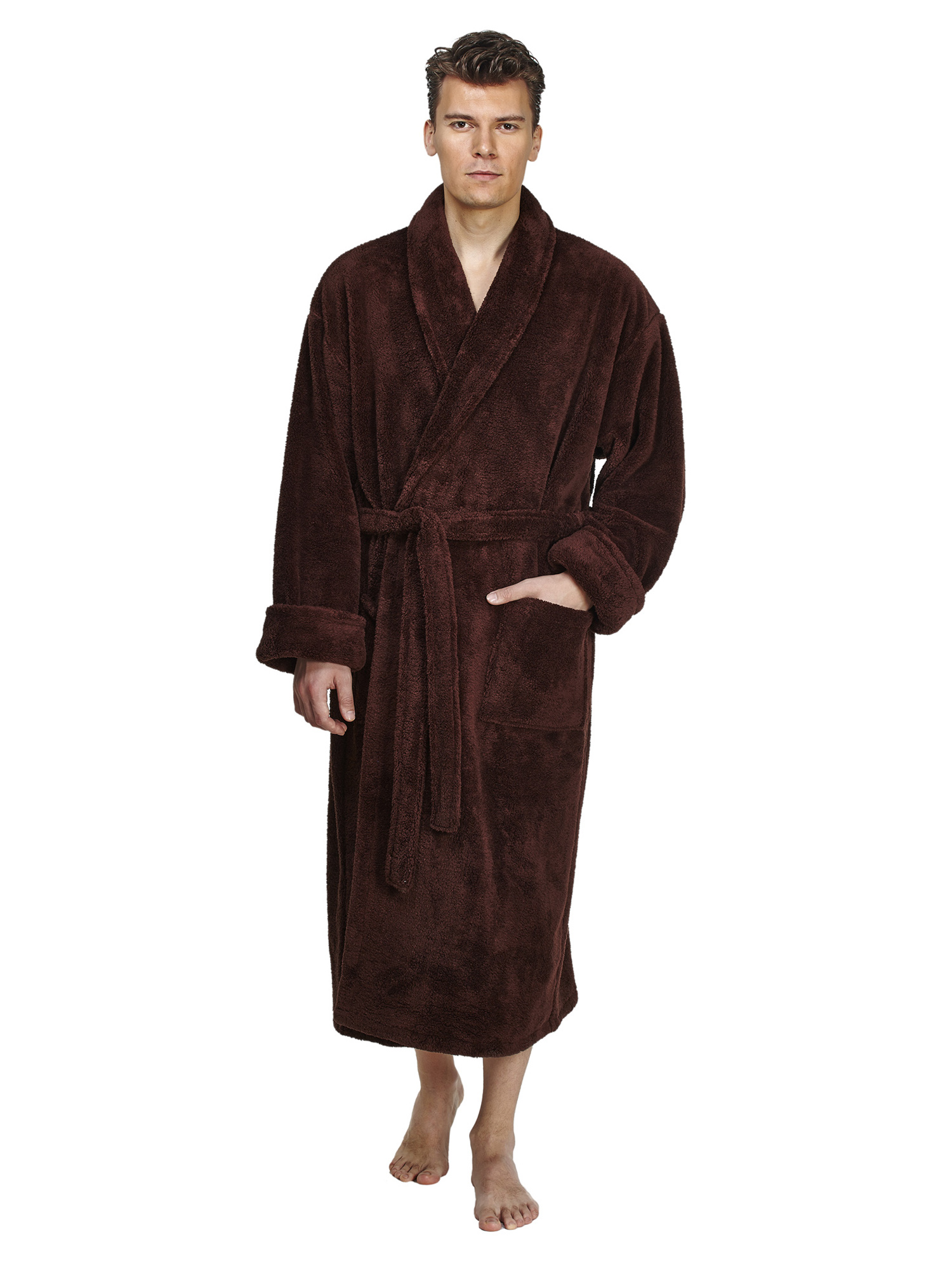 Men's Shawl Collar Fleece Plush Robe Turkish Bathrobe