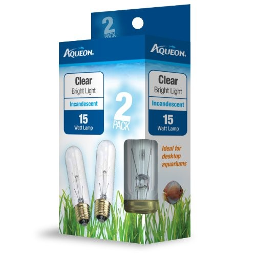Aqueon Clear Incandescent Aquarium Light Bulb, 15 Watt, 2 Ct