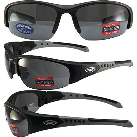Global Vision Bold Safety Sunglasses Black and Grey Frames Smoke Hydrophobic Lenses ANSI Z87.1