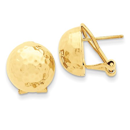 Ladies NEW 14k Yellow Gold Polished 3D Hammered Omega Back Earrings 13mm x 13mm ()
