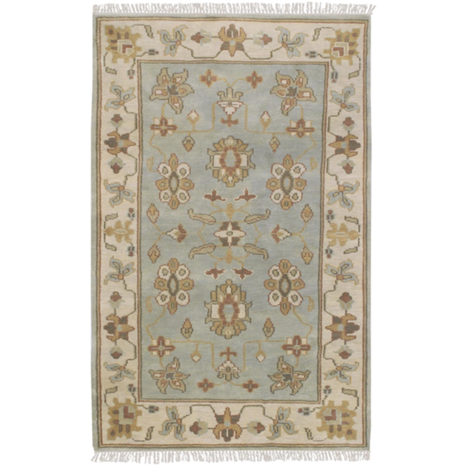 9' x 13' Junos Stone Blue & Dark Khaki Traditional Wool Area Throw Rug