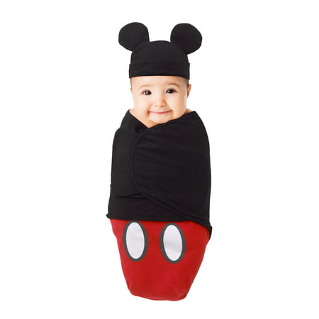 Disney Mickey Mouse 100% Cotton Knit Fitted Swaddle Baby Blanket with Mickey Ears Beanie, Red, Black & White 0-4 Mo. 7-14 Lbs. (Baby Mickeymouse)
