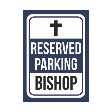 Reserved Parking Bishop Print Blue, White And Black Notice Parking Plastic Small Signs, 7.5x10.5 Inch (White And Bishop)