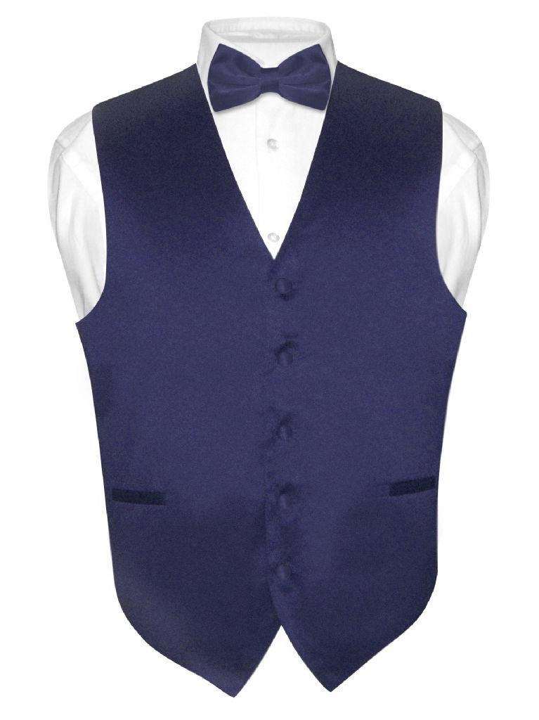 Men's Dress Vest & BowTie Solid NAVY BLUE Color Bow Tie Set for Suit or Tuxedo