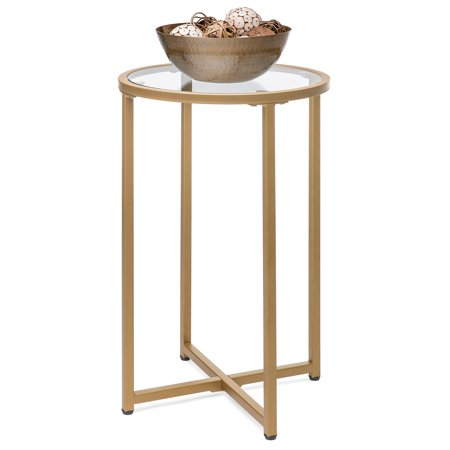 Best Choice Products 16in Modern Round Side Coffee Table Nightstand Furniture Accent Decor for Living Room, Bedside, Hallway w/ Metal Frame, Glass Top, Gold ()