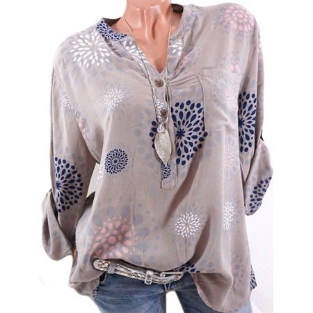 4a7673ff40d Plus Size Womens V-Neck Floral Printed Shirt Blouse Long Sleeve Loose  Button Top - Walmart.com