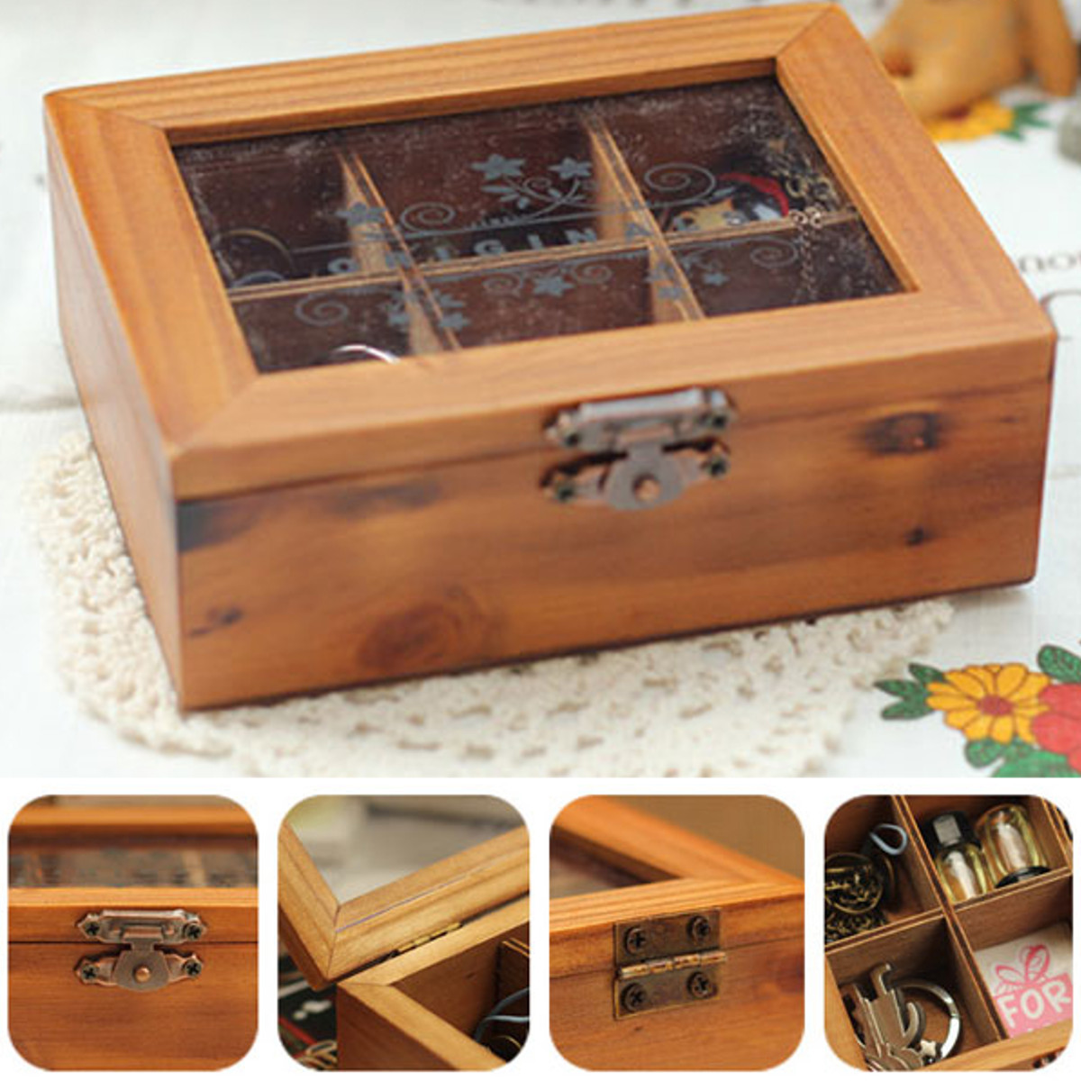 Vintage Wooden Jewelry Storage Box Clear Cover Holder Organizer Craft CaseS color : jewelry storage box  - Aquiesqueretaro.Com