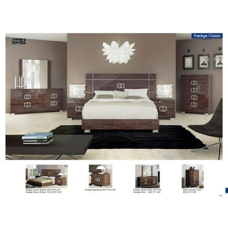 ESF Prestige Classic Contemporary Walnut High Gloss Finish Queen Bedroom  Set 5Pc