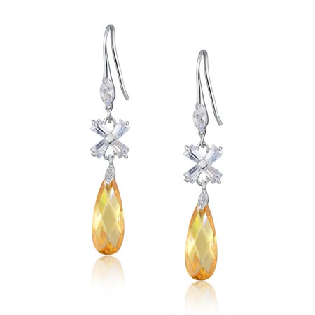 Teardrop and X-shaped Baguette Cubic Zirconia  Earrings for Women Girls White Gold Plated (Amber)