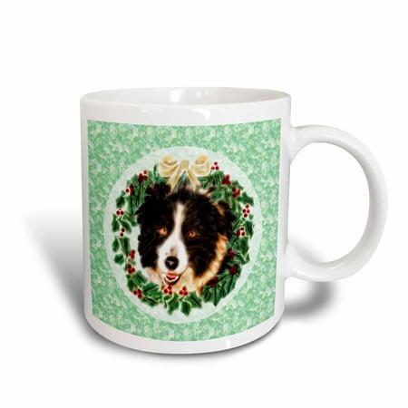 3dRose Christmas Border Collie Dog with Wreath and Holly - Ceramic Mug, 11-ounce