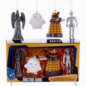Doctor Who 4 Piece Weeping Angel, Adipose, Dalek and Cyberman Character Christmas Ornament Set
