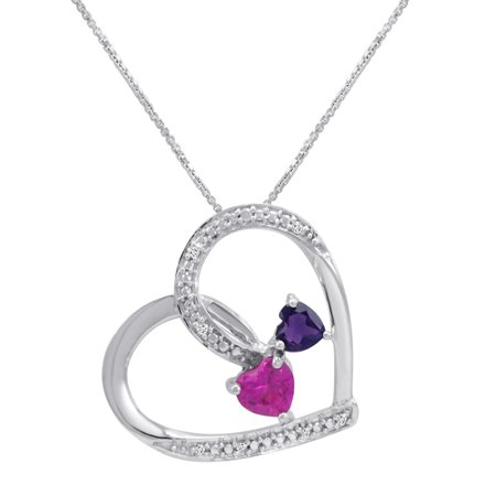 Created Pink Sapphire with Natural Amethyst and Diamond Double Heart Pendant Necklace Diamond Sapphire Heart Necklace
