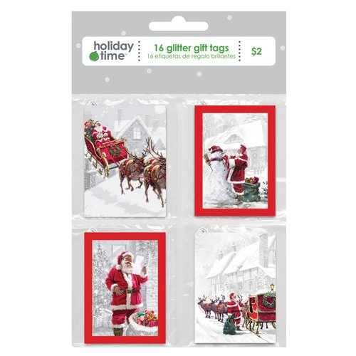 Holiday Time Quartet Santa Gift Tags, 16-Pack