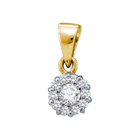 14kt Yellow Gold Womens Round Diamond Solitaire Circle Frame Cluster Pendant 1/4 Cttw - image 1 of 1