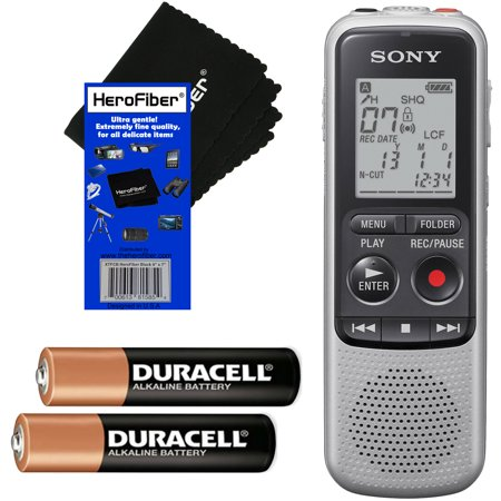 Sony ICD-BX140 MP3 Digital Voice IC Recorder with Built-in 4GB + 2 AAA Batteries + HeroFiber Ultra Gentle Cleaning