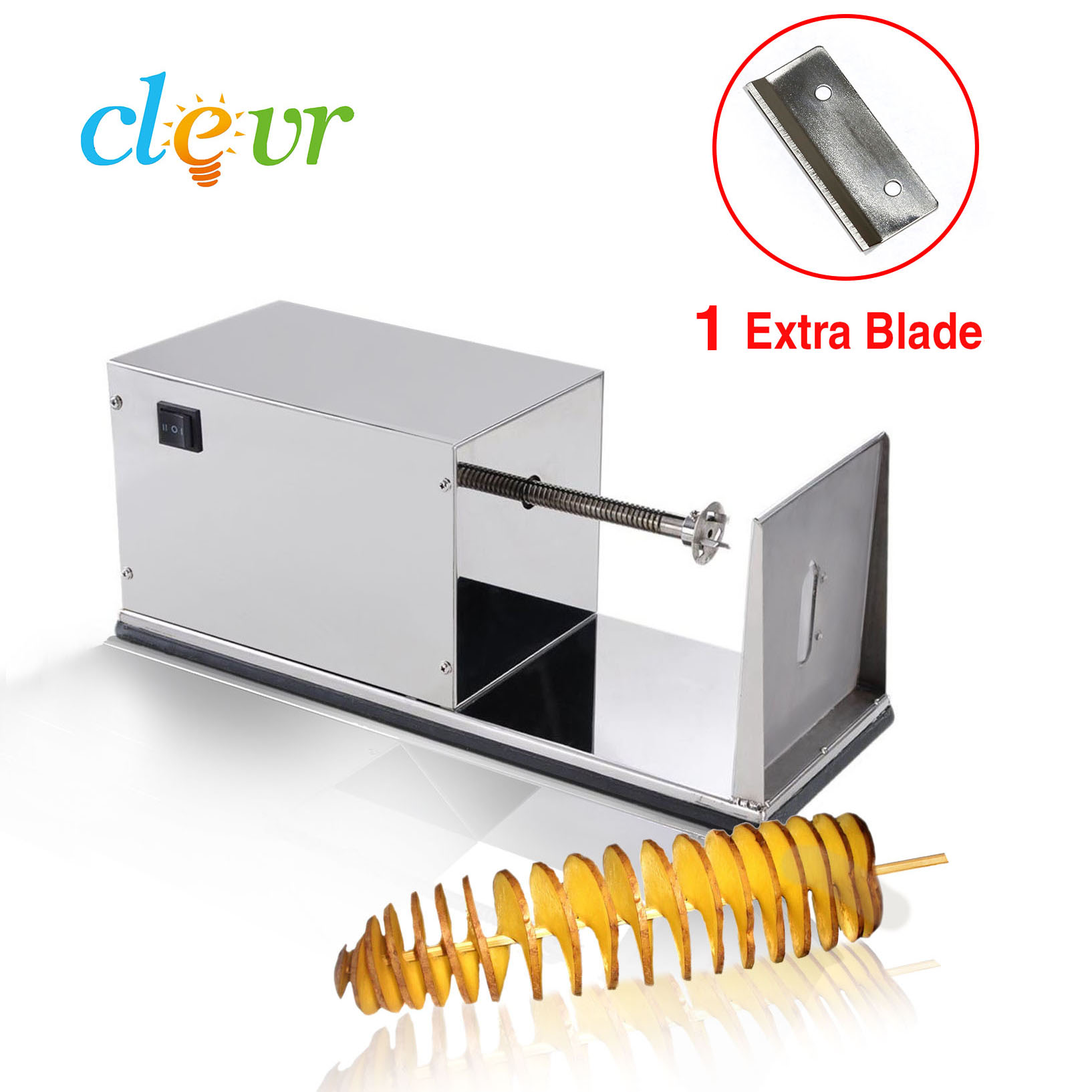 Clevr Automatic Stainless Steel Potato Tornado Slicer Cutter Machine