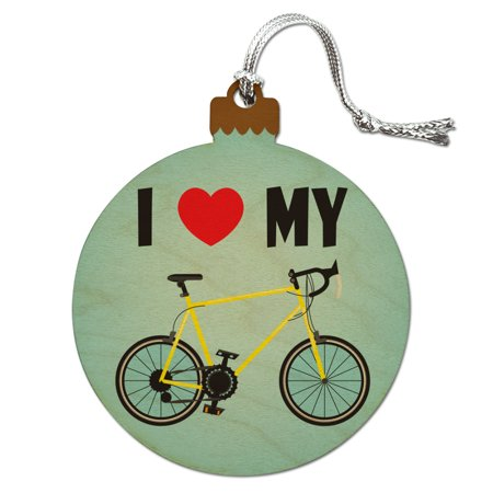 I Love My Bike Road Bicycle Cycling Wood Christmas Tree Holiday Ornament