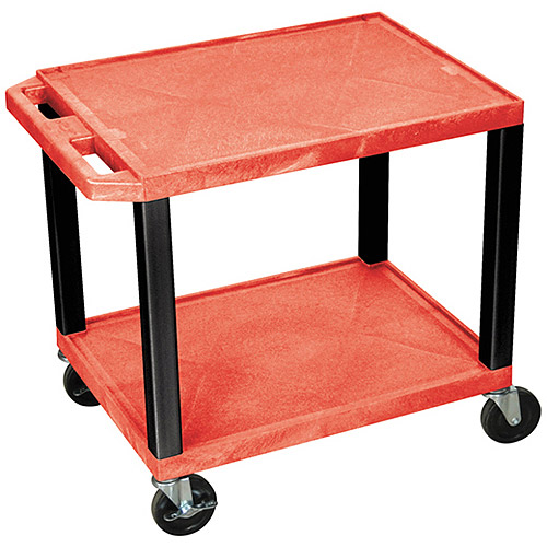 H. Wilson Tuffy 2-Shelf A/V Cart with Electric, Red Shelves and Black Legs