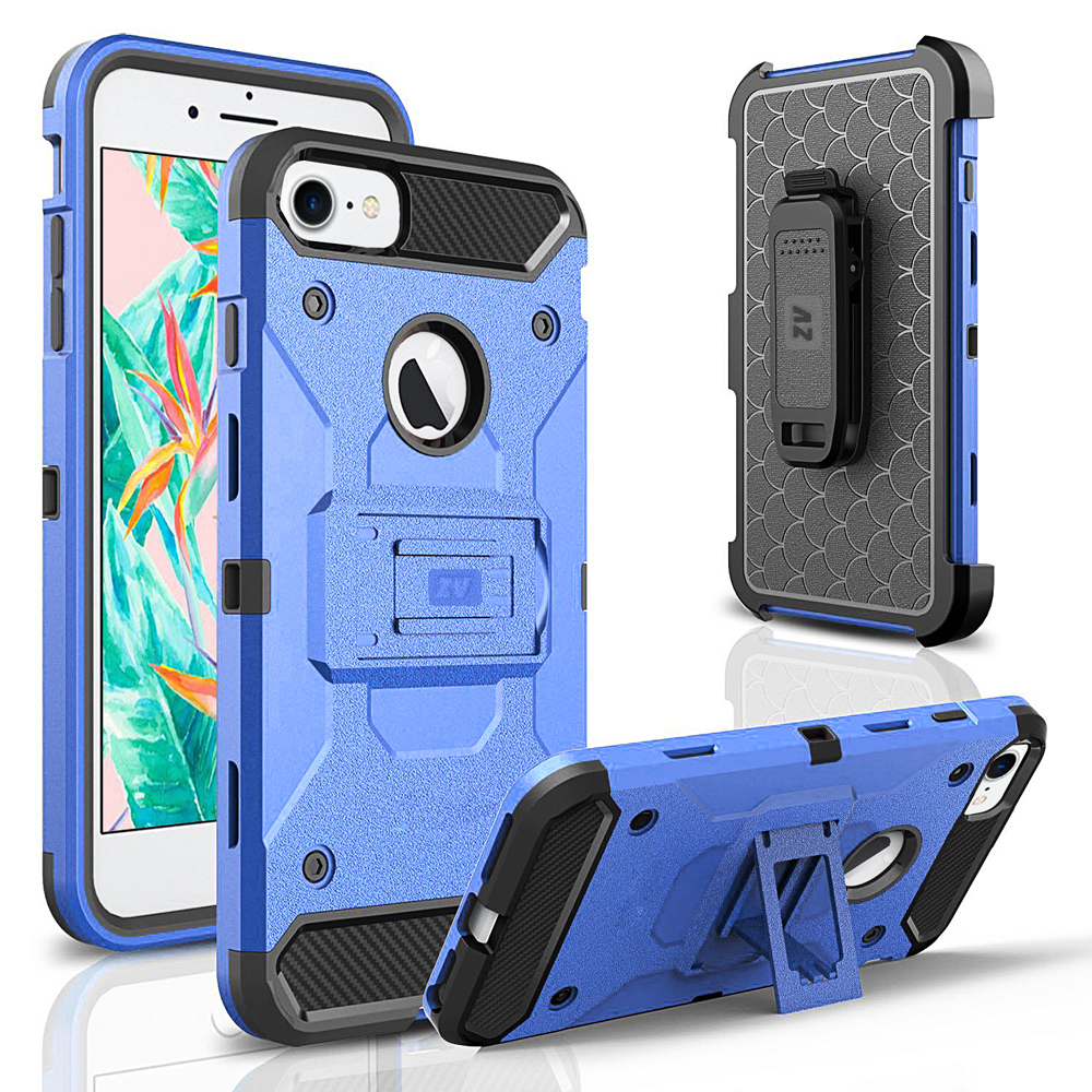 ZV Slim Heavy Duty Tough Case Cover w/ Holster and Kickstand for iPhone 7/7 Plus