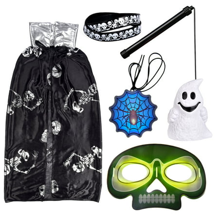 Halloween Party Favors Set for Kids with Ghost Cloak, Lantern, Bracelets, Glow Sticker Necklace, Glow Mask, Halloween Cosplay Party Supplies F-214