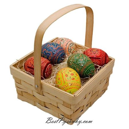 Ukrainian Easter Basket - Set of 6 Ukrainian Hand Painted Wooden Easter Eggs in a Gift Basket