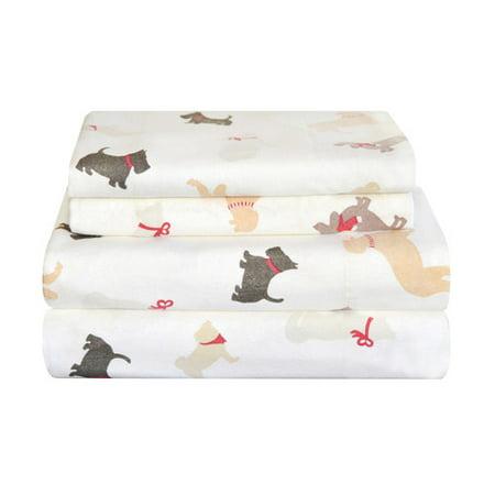 Pointehaven Winter Dogs Flannel Sheet Set