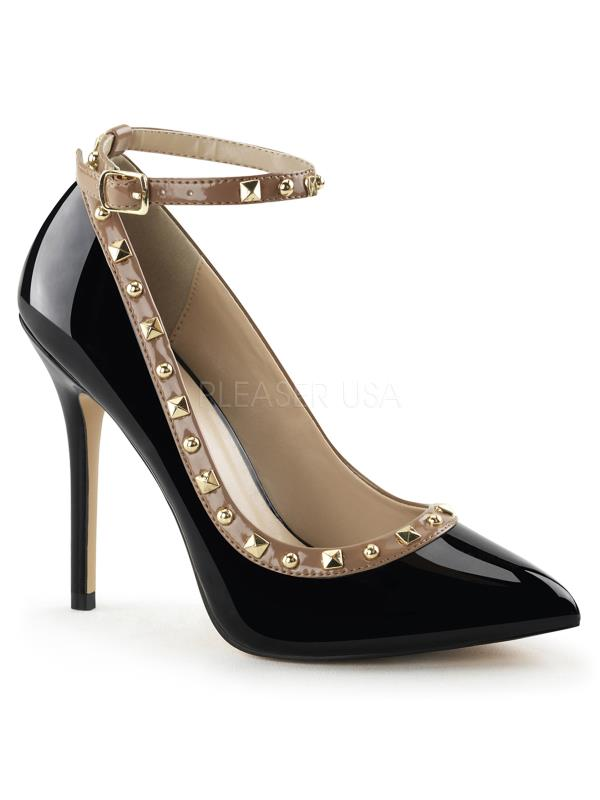 "AMU28/B-RO Pleaser Single Soles 5"" Heel Shoes Blk-Rose pat Size: 14"