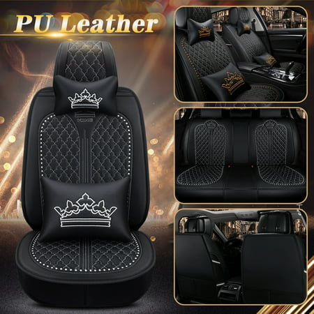 Car Seat Covers Deluxe PU Leather 5 Seats Side Airbag Compatible Front&Rear Seat Cushion Mat Full Set Universal Fit for Car, Truck, SUV or Van