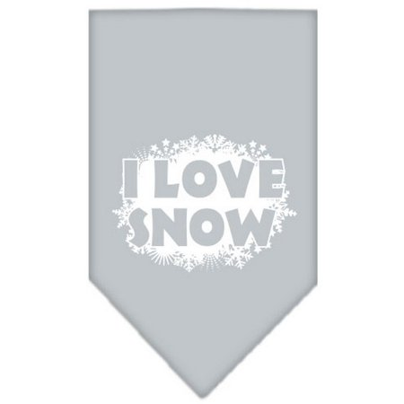 I Love Snow Screen Print Bandana Grey Small