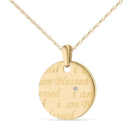 Imperial 'I Am Blessed' 14k Yellow Gold Plated Single Disc Silver Pendant (H-I,