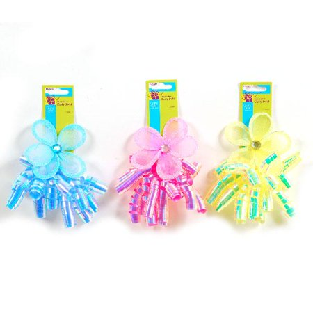 Neon Wired Flower Iridescent Curly Swirl Adhesive Gift Bow