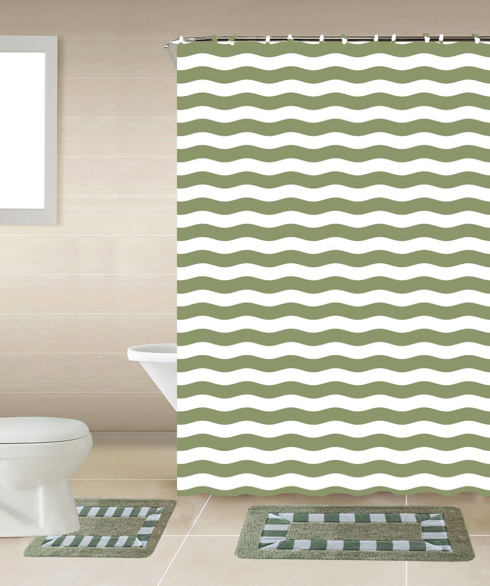 Striped Sage Green & White 15-Piece Bathroom Accessory Set: 2 Bath Mats, Shower Curtain &... by