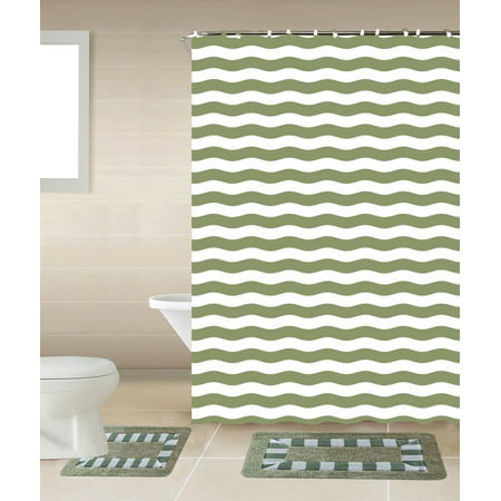 Striped Sage Green & White 15-Piece Bathroom Accessory Set: 2 Bath Mats, Shower Curtain & 12 Fabric Covered