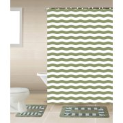 Striped Sage Green & White 15-Piece Bathroom Accessory Set: 2 Bath Mats, Shower Curtain & 12 Fabric Covered Rings