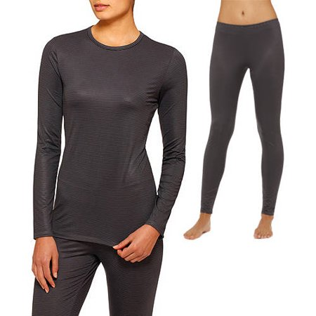 ClimateRight by Cuddl Duds Womens Stretch Microfiber Warm Underwear Longsleeve Top and Legging Bundle (Sizes XS-2X) Choose One Top & One Bottom