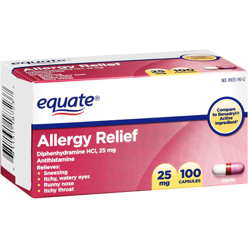 Equate: Allergy Medication 25Mg Capsules Antihistamine, 100 Ct