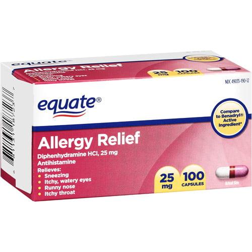 Equate: Allergy Medication 25Mg Capsules Antihistamine, 100 Ct