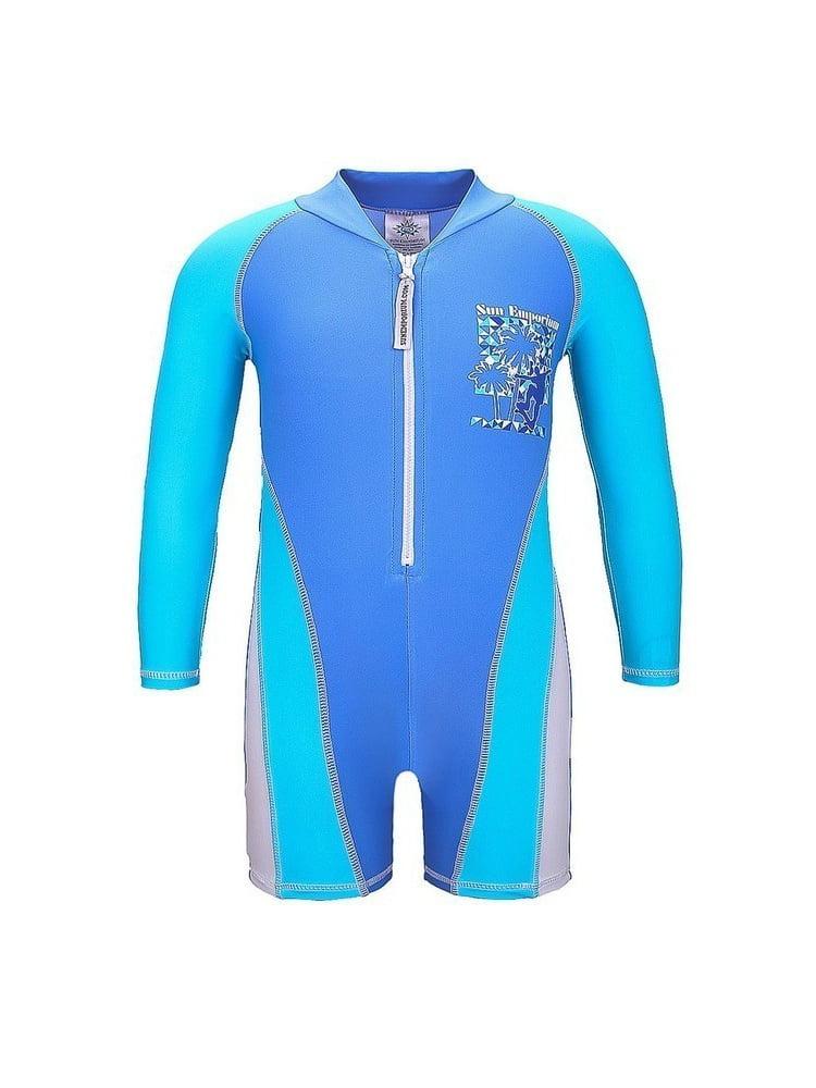 Sun Emporium Baby Boys Blue White Skater Boy Long Sleeve Sun Suit