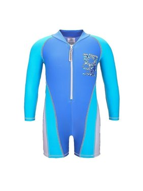 Sun Emporium Baby Boys Blue White Skater Boy Long Sleeve Sun Suit