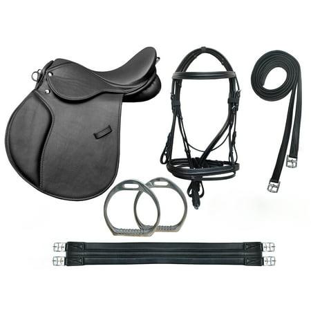 Horse English Leather  Pony 10 Piece Riding Saddle Gift Set Black 803SD ()