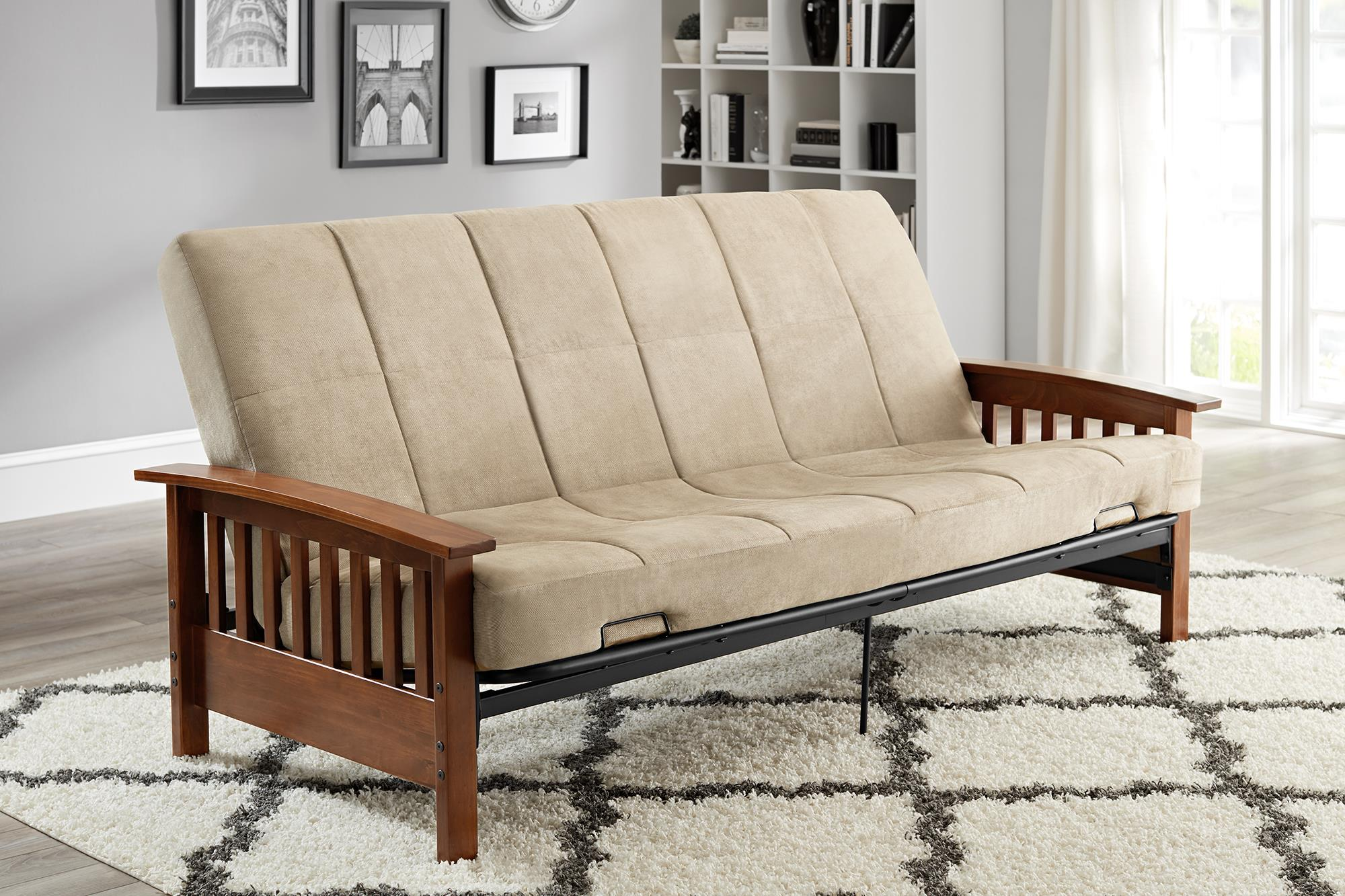 better homes and gardens mission wood arm futon multiple colors better homes and gardens mission wood arm futon multiple colors      rh   walmart