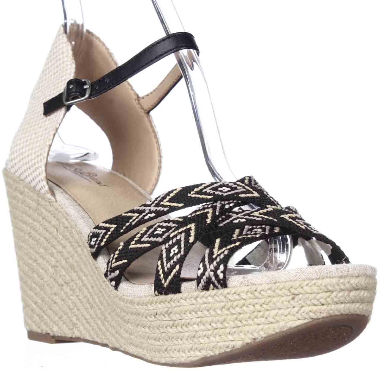 Womens Lucky Brand Mahima Espadrille Wedge Ankle Strap Sandals, Black Multi/Friendship Bracelet
