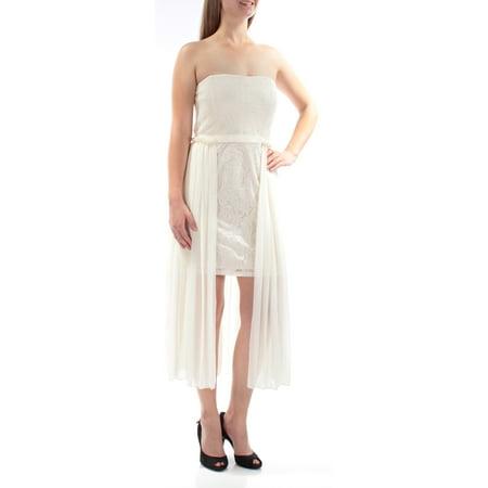 Sheath Strapless Court Train - RACHEL ROY Womens Ivory Sleeveless Strapless Mini Sheath Dress  Size: 6